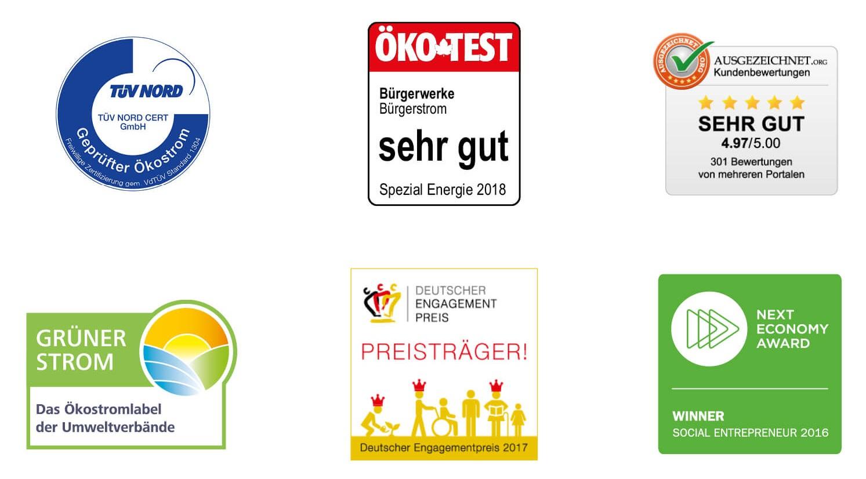 Gütesiegel TÜV Nord, Ökotest, ausgezeichnet.org, Grüner-Strom-Label, Deutscher Engagement Preis, Next Economy Award